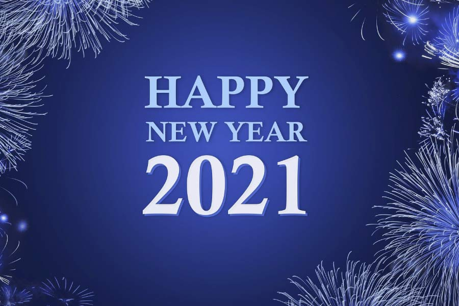 Happy New Year 2021 in front of a blue background with fireworks around the edge.