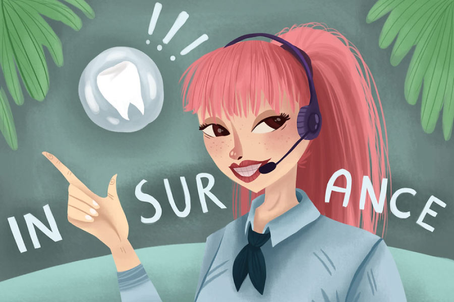 Cartoon girl wearing a headset while talking to a patient about dental insurance