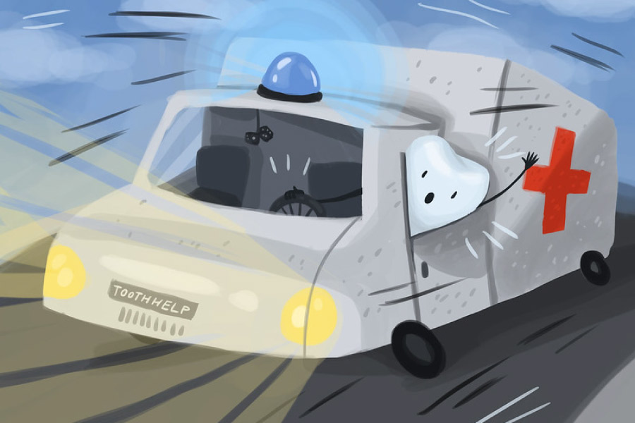 Cartoon of an ambulance being driven by a tooth.
